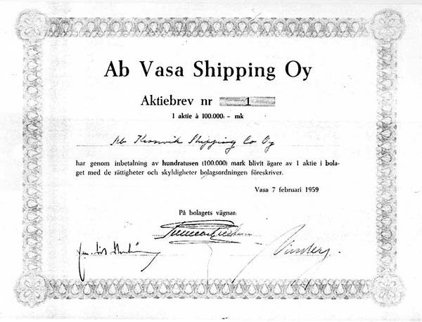 Vasa Shipping osakekirja