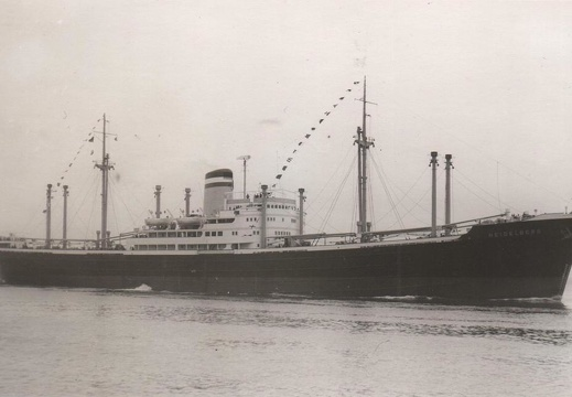 Turbine ship Mannheim, seen as Heidelberg on the lower River Elbe, near Hamburg, in 1960.