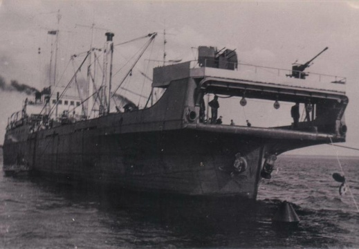 The Netlayer VIII ex Finnish barge Eggeroe, in the Gulf of Finland, May 1944.