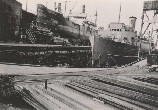 Mineship Preußen in dry-dock at Copenhagen, April 1941.